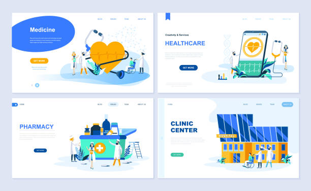 Set of landing page template for Medicine, Healthcare, Pharmacy, Clinic Center. vector art illustration