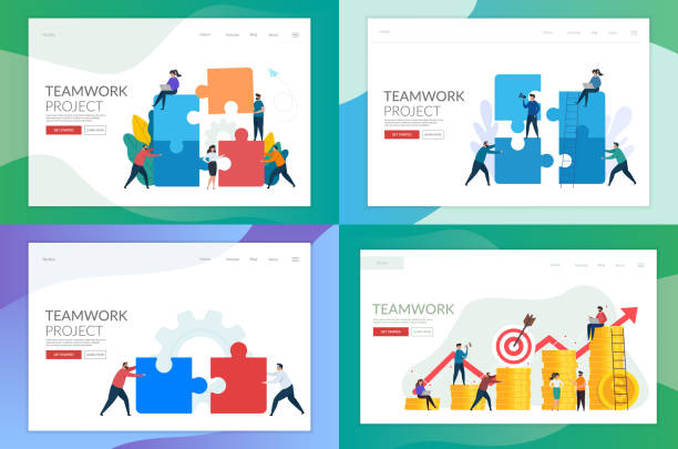 Set of landing page template for teamwork concept design. vector art illustration