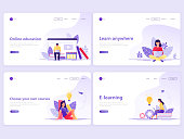 Set of Landing page templates. Distance education, online courses, e-learning, tutorials. Flat vector illustration concepts for a web page or website.