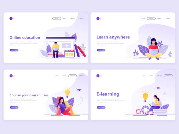 set of landing page templates. distance education, online courses, e-learning, tutorials. flat vector illustration concepts for a web page or website. - online learning stock illustrations