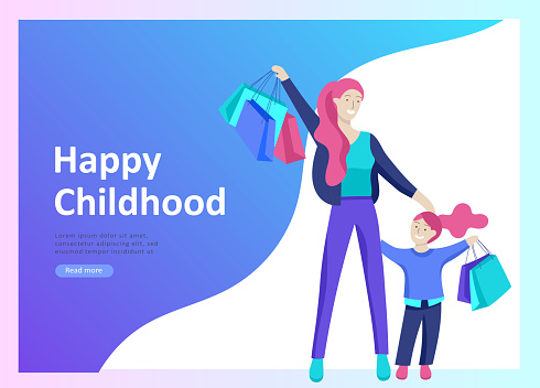 Set of Landing page templates for happy mothers day, child health care, happy childhood and children, goods and entertainment for mother with children. Parent with daughter or son have fun