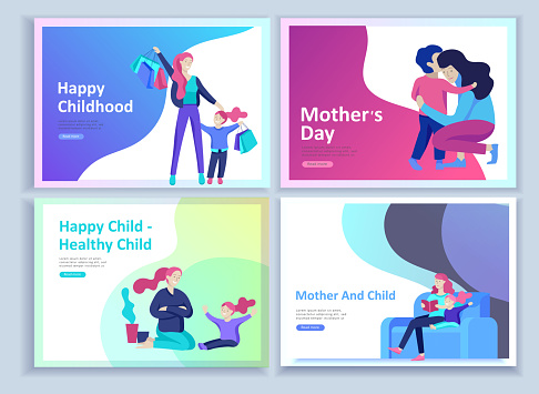 Set of Landing page templates for happy Mother's day, child health care, happy childhood and children, goods and entertainment for mother and children. Parents with daughter