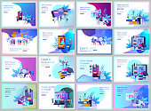 Set of Landing page templates for Online language courses, distance education, training. Language Learning Interface and Teaching Concept. Education Concept, training young people. Internet