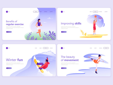 Set of Landing page templates. People doing sports, jogging, basketball, skating, snowboarding. Vector illustration for a web page or website.