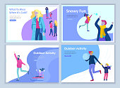 Set of Landing page templates. People dressed in winter clothes or outerwear performing outdoor activities fun. Snow festival, sledding or snowboard. Christmas family ski skating, skiing extreme sport