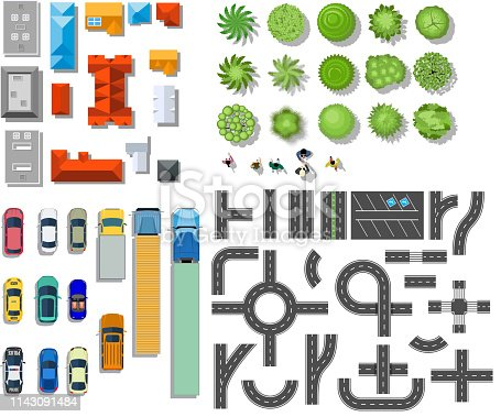 Set of landscape elements. Houses, architectural elements, plants. Top view. Road, cars, people, houses trees Vector illustration in flat style
