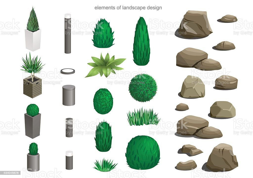 Set of landscape elements vector art illustration