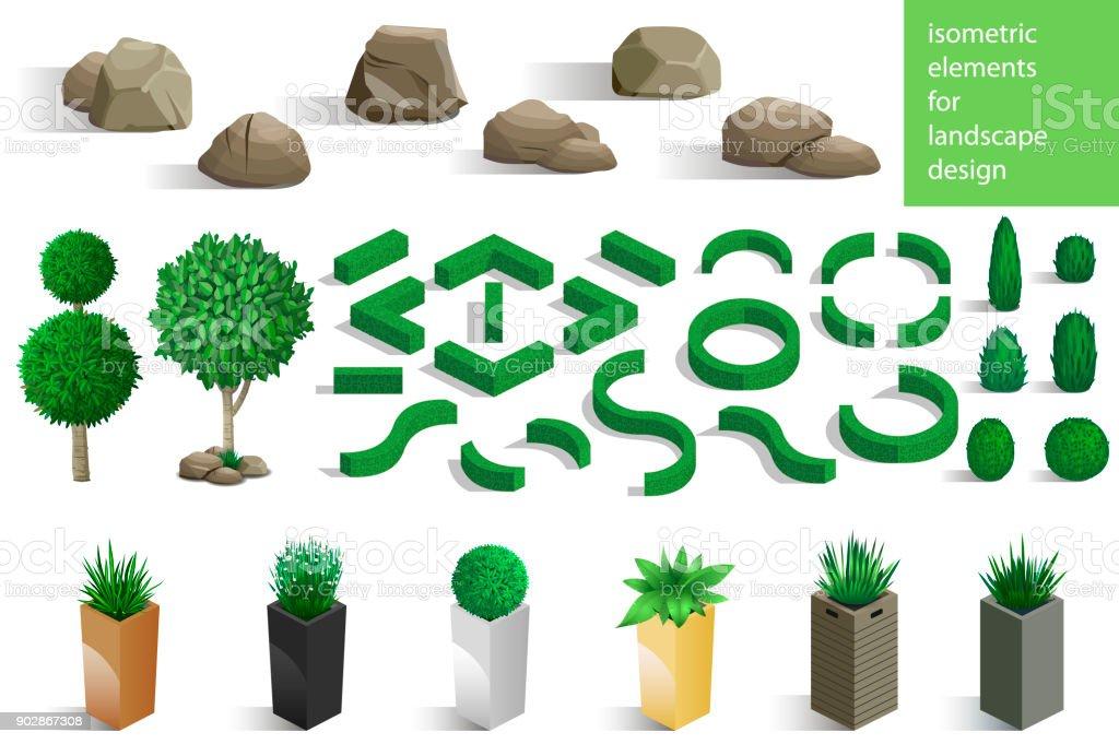 Set of landscape elements - illustrazione arte vettoriale