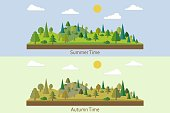 Set of landscapes. Summer Forest. Autumn forest. Forest in flat style. Wildlife. Eco lifestyle. Forest view. Vector illustration