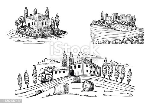 Set of landscapes views with fields, castle and houses. Ink drawings with nature and buildings, trees, sheafs of hay and meadows. Hand drawn ink style. Vector illustration.