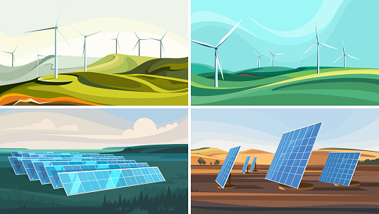 Set of landscapes with wind farms and solar panels.
