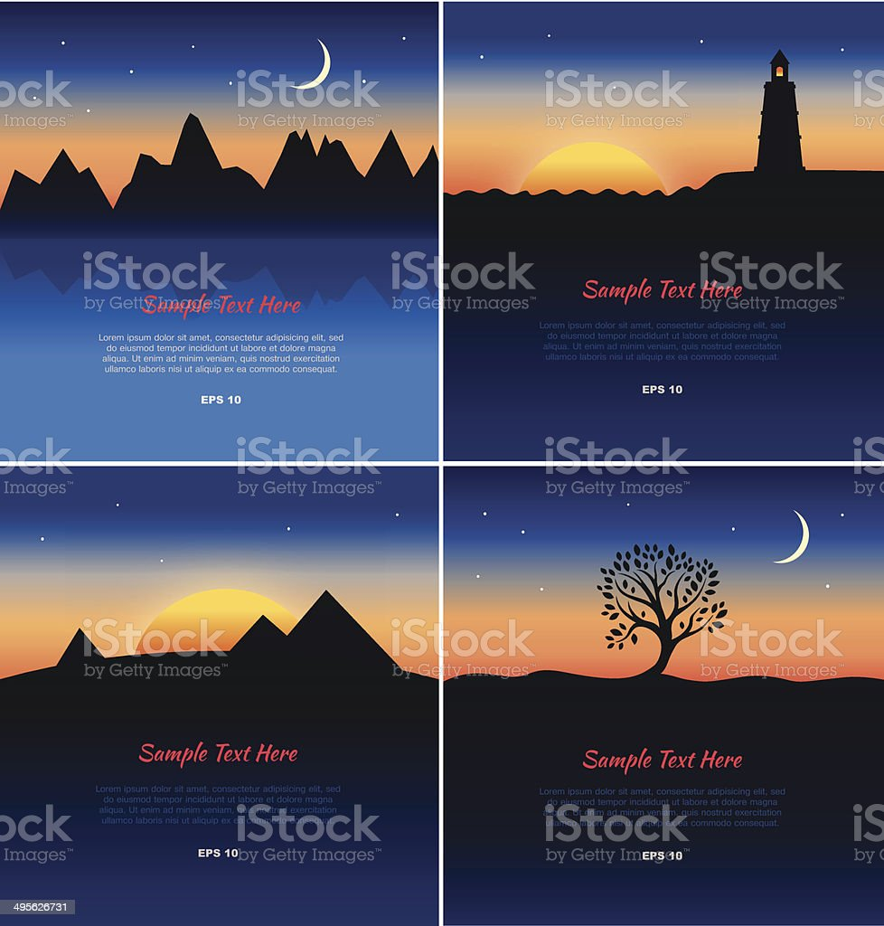 Set of lanscapes silhouettes vector art illustration