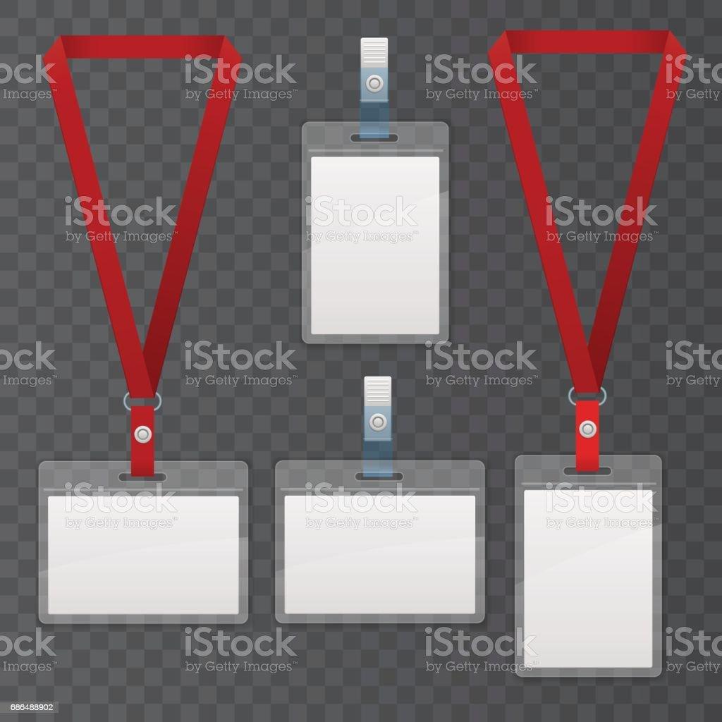 Set Of Lanyard And Badge Template Plastic Badge Identification Set ...