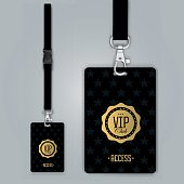 Set of lanyard and badge. Design example vip pass. Template vector illustration.