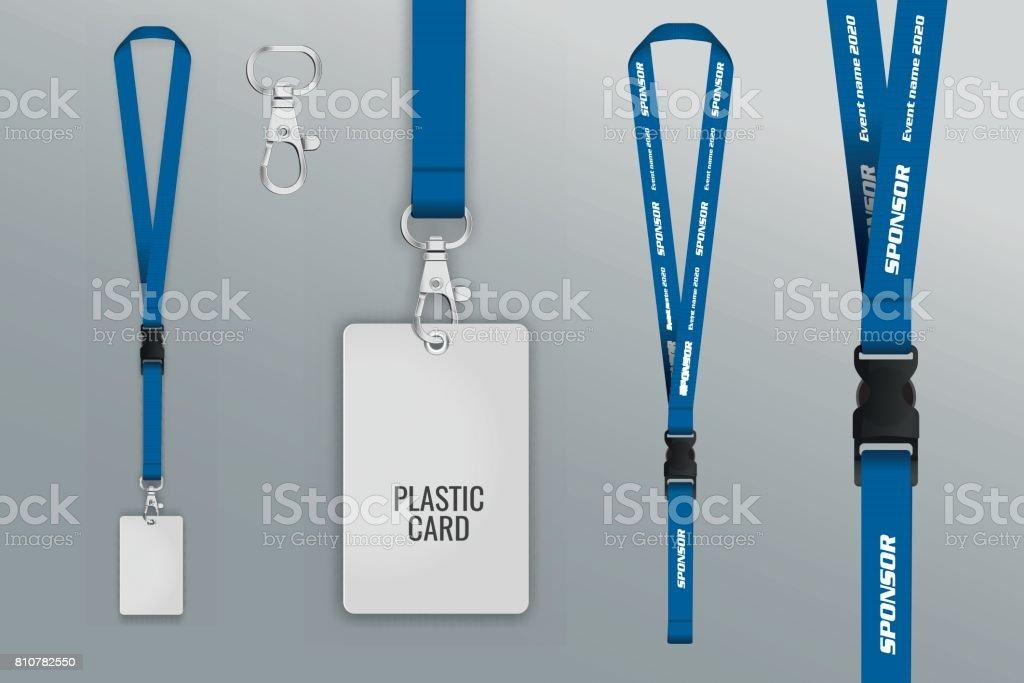 Set of lanyard and badge. vector art illustration