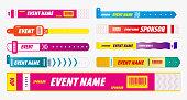 set of lanyard bracelets or concert identity entrance concept. eps 10 vector, easy to modify