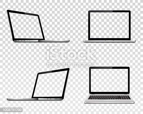 Set of laptop with transparent screen. Perspective, top and front view. Isolated on transparent background. Vector illustration EPS10.