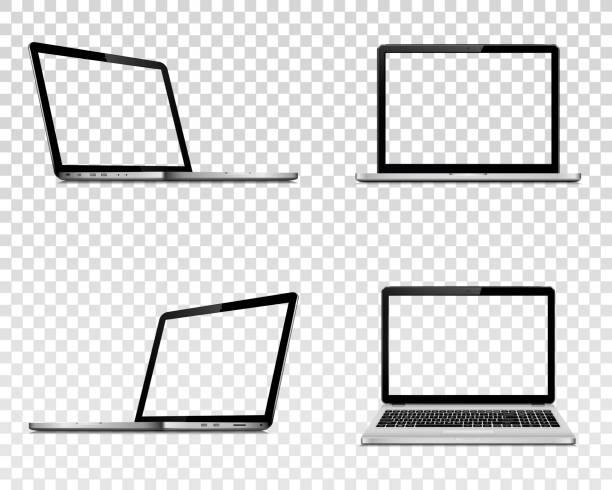 bildbanksillustrationer, clip art samt tecknat material och ikoner med uppsättning av laptop med genomskinlig skärm. perspektiv, topp och framifrån. - laptop