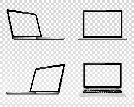 Set Of Laptop With Transparent Screen Perspective Top And Front View - Arte vetorial de stock e mais imagens de Aberto