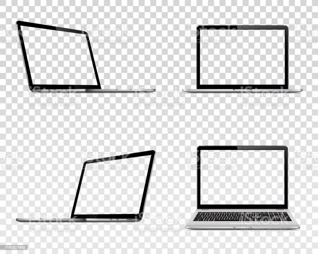 Set of laptop with transparent screen. Perspective, top and front view. Set of laptop with transparent screen. Perspective, top and front view. Vector illustration EPS10. Blank stock vector