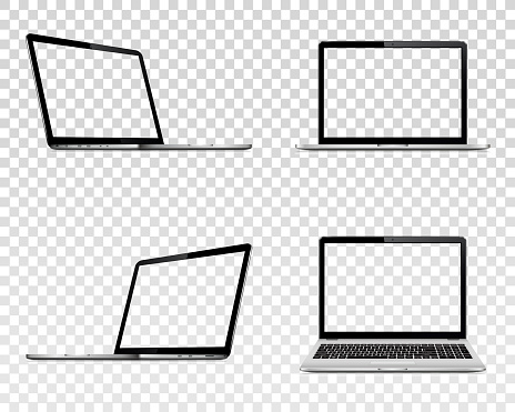 Set of laptop with transparent screen. Perspective, top and front view. clipart