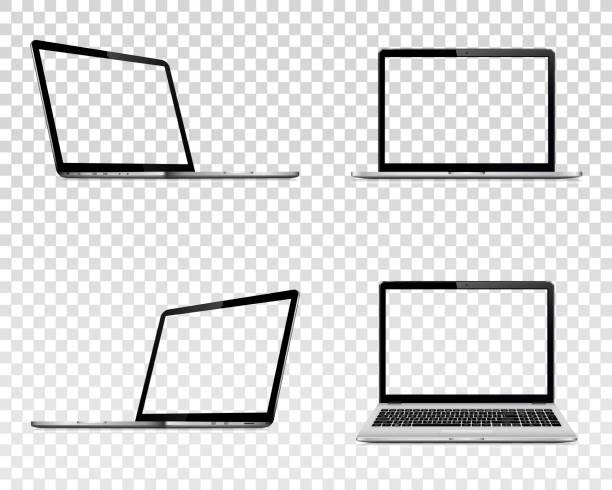 ilustrações, clipart, desenhos animados e ícones de jogo do portátil com tela transparente. perspectiva, vista superior e dianteira. - laptop
