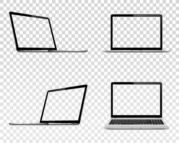 Set of laptop with transparent screen. Perspective, top and front view. Set of laptop with transparent screen. Perspective, top and front view. Vector illustration EPS10. laptop stock illustrations