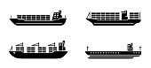 istock Set of large cargo ships. Modern container sea vessel. 1219720461