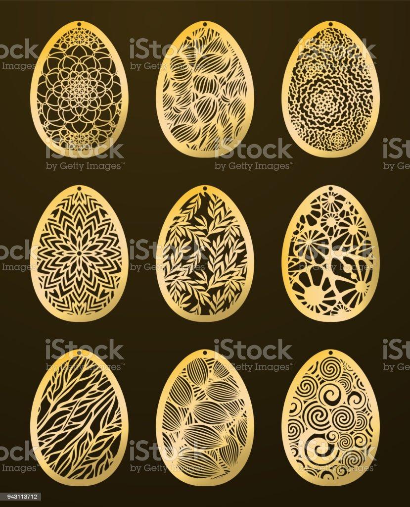 Set Of Laser Cut Happy Easter Eggs Vector Stencil Ornamental