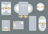 Set of Laser Cut Wedding Invitation Card. White Round Lace on Blue Card and Golden Ribbon on top. RSVP Card. Sticker Thank you.Vector/Illustration