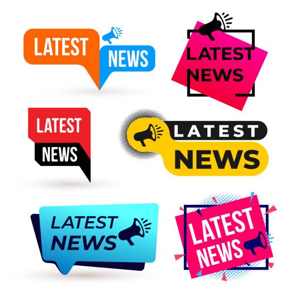 ilustrações, clipart, desenhos animados e ícones de conjunto de rótulo colorido de megafone de notícias mais recente. ilustração em vetor. isolado no fundo branco. - tag