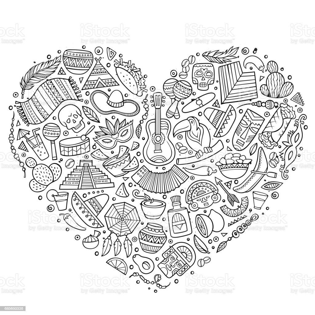 Set of Latin American cartoon doodle objects 免版稅 set of latin american cartoon doodle objects 向量插圖及更多 一組物體 圖片