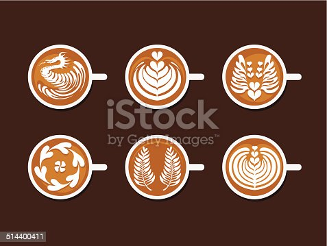 Collection of Coffee Drinks & Latte Art White Cup , Vector illustration