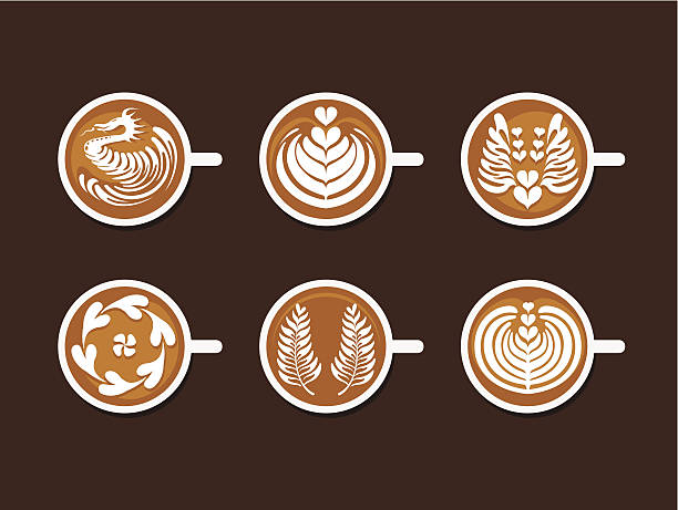 Set of Latte Art White Cup Collection of Coffee Drinks & Latte Art White Cup , Vector illustration living organism stock illustrations