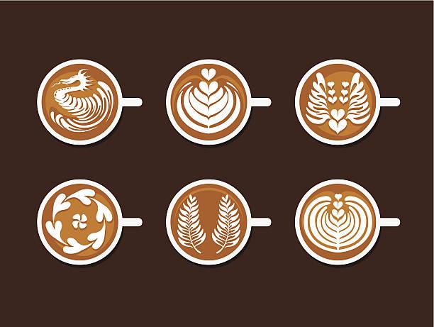 zestaw biały kubek latte art - cappuccino stock illustrations