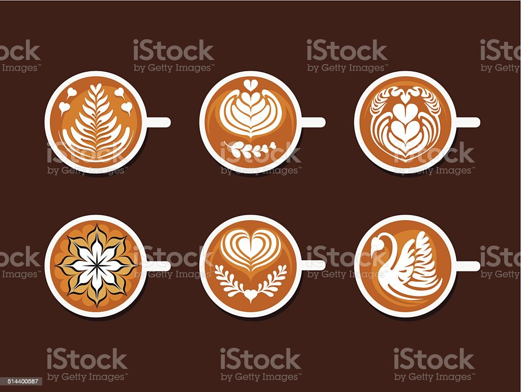 Set of Latte Art White Cup vector art illustration