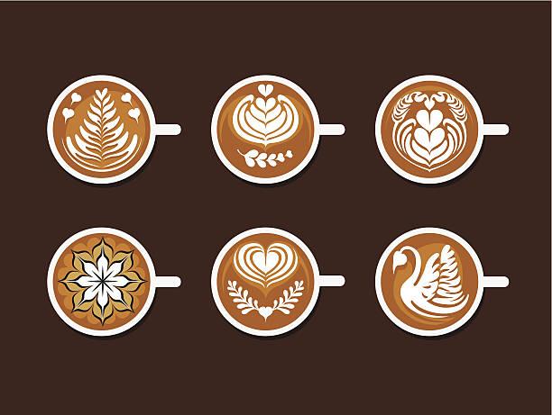 set of latte art white cup - living organism stock illustrations