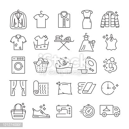 Set of Laundry and Dry Cleaning Related Line Icons. Editable Stroke. Simple Outline Icons.