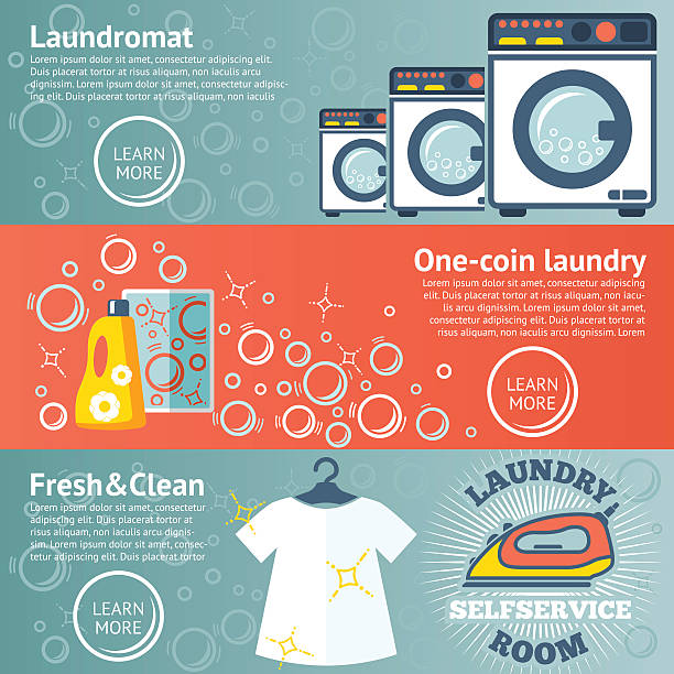 set of laundry banners with laundromat, detergents, iron and clothes - waschsalon stock-grafiken, -clipart, -cartoons und -symbole