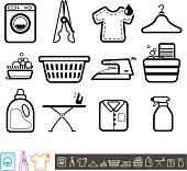 Set of laundry icons.