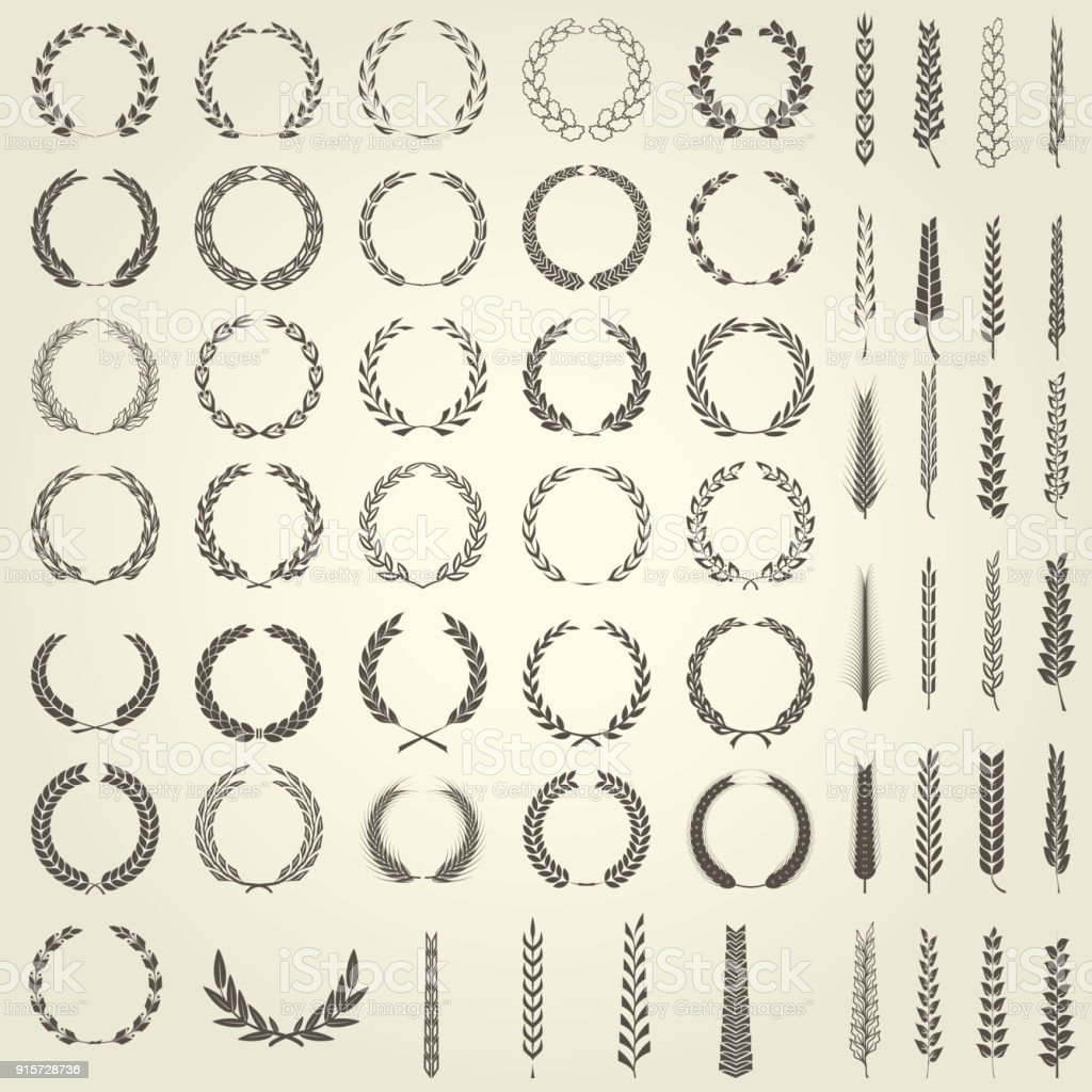 Conjunto de ramas de laurel y espigas de trigo en estilo heráldico ilustración de conjunto de ramas de laurel y espigas de trigo en estilo heráldico y más vectores libres de derechos de abrigo libre de derechos