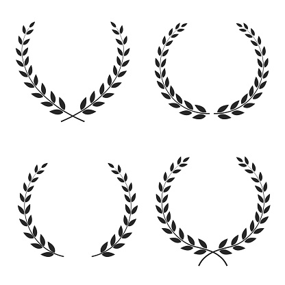 Set of laurel wreaths of different shapes isolated on white background. Vector illustration.