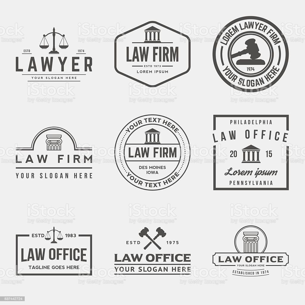 Derecho Conjunto de oficina de logotipos - ilustración de arte vectorial