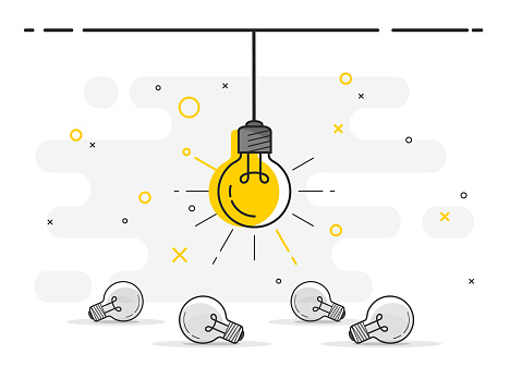 Set of laying light bulbs with one hanging and glowing. Trendy flat vector light bulb icons with concept of idea on white background. clipart