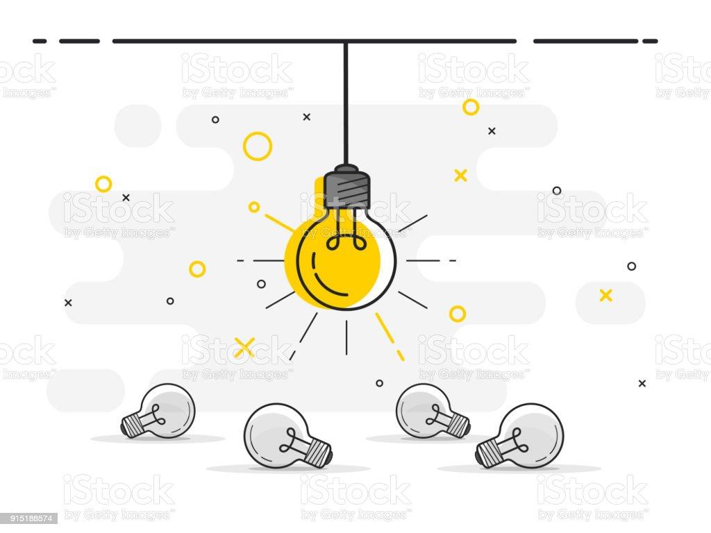 Sistema de colocación de bombillas de luz con uno colgando y que brilla intensamente. Iconos de moda vector plano bombilla de luz con el concepto de idea sobre fondo blanco. - ilustración de arte vectorial