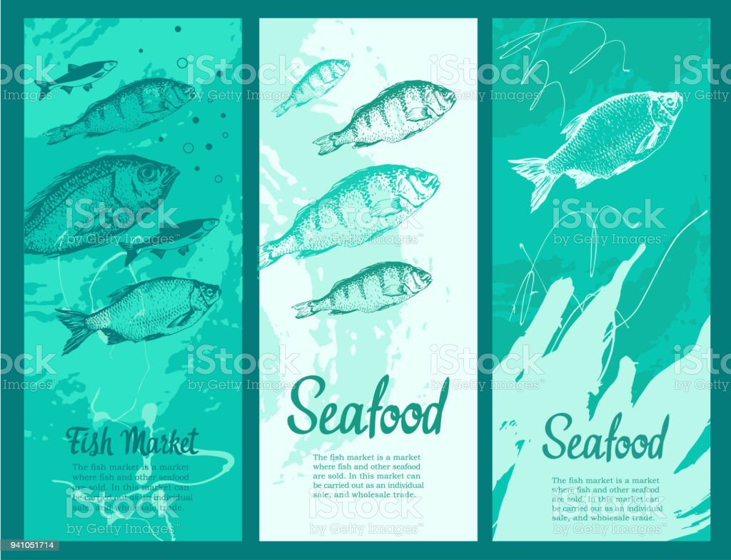 Set Of Layout Banners With Sketches Fish Hand Drawn Vector Illustration For Food Market
