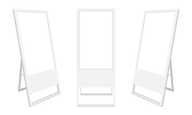 illustrazioni stock, clip art, cartoni animati e icone di tendenza di set of lcd advertising displays, isolated on white background - totem fair