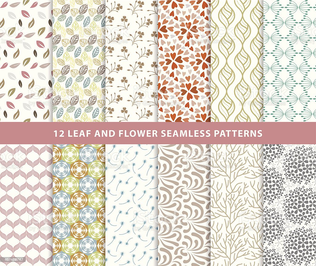 Set of leaf and flower seamless patterns monochrome style vector art illustration
