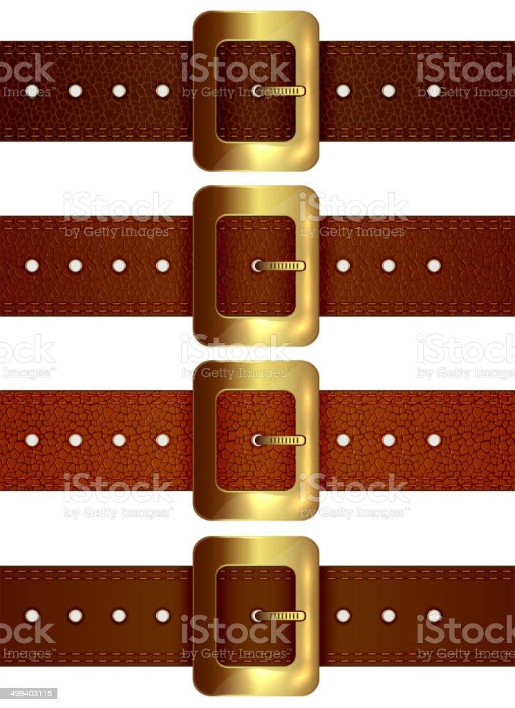 Set of leather belts vector art illustration