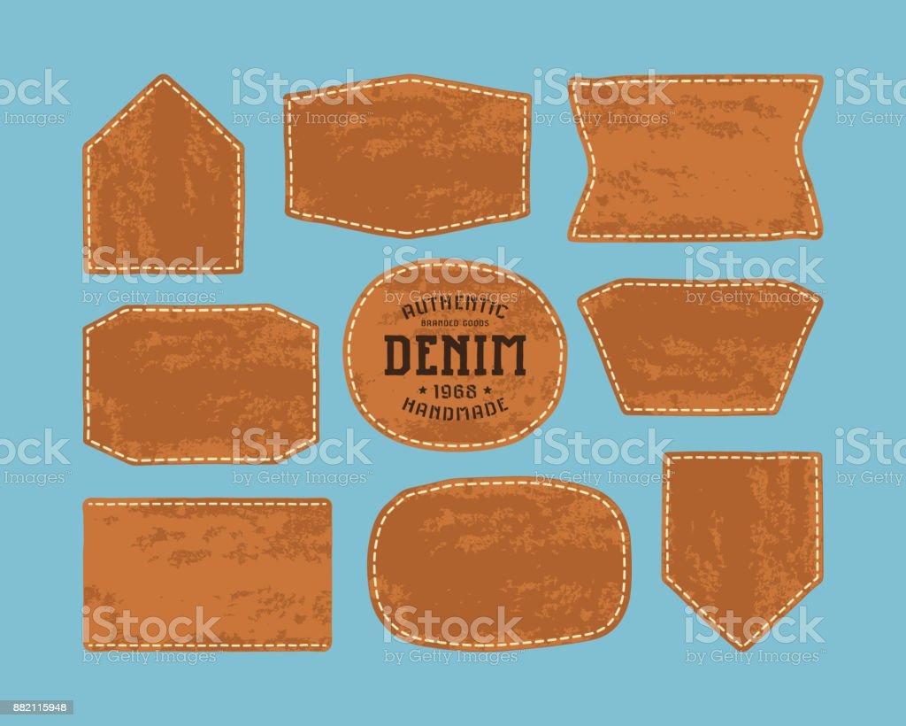 Set of leather patch for denim clothing vector art illustration